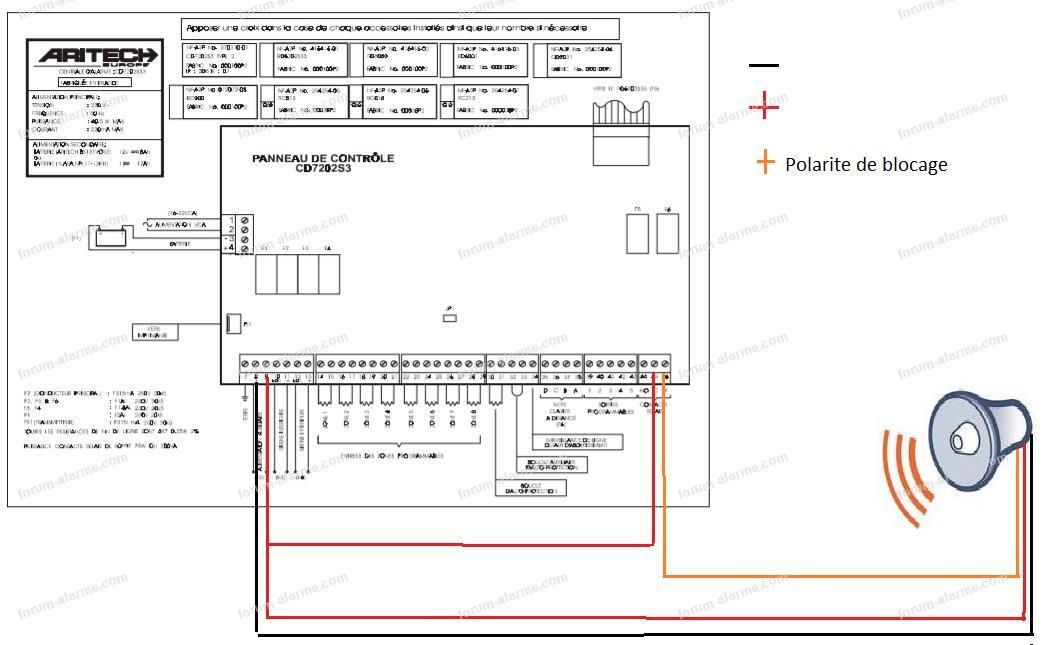 branchement sirène alarme Aritech CD72