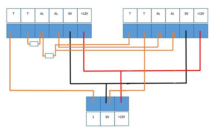 branchement 2 détecteurs alarme 2