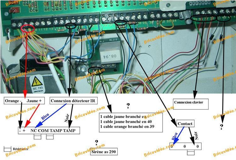 branchement alarme bv1711