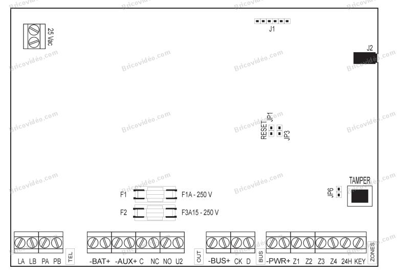 Connexion récepteur V2 Wally-u centrale Elkron MP106