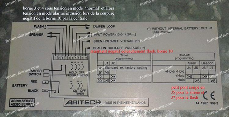 branchement sirène extérieure Aritech AS 290