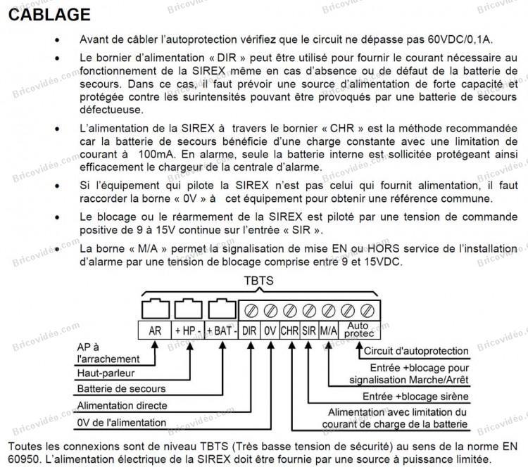 brancher une sirene sirène sirex-f  sur une Aritech CD3402s3 plus