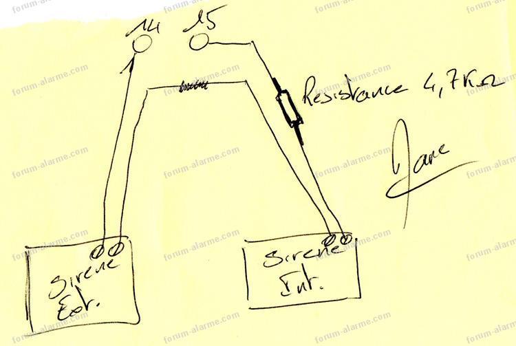 branchement sirènes centrale Aritech