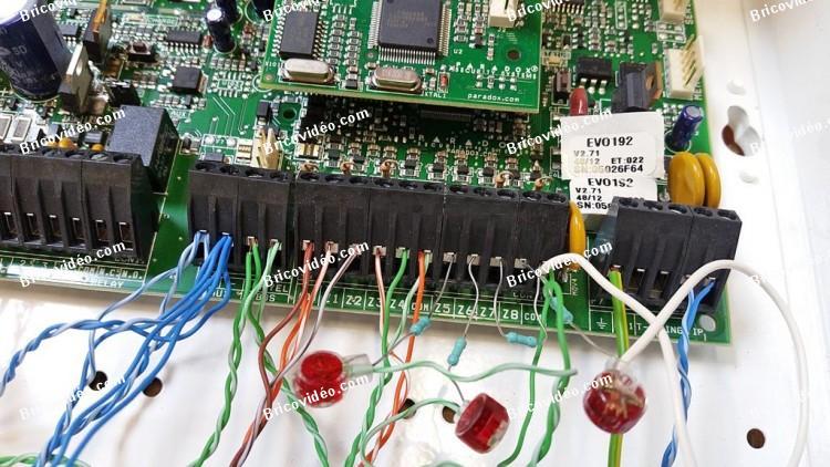 câblage résistances alarme EVO 192