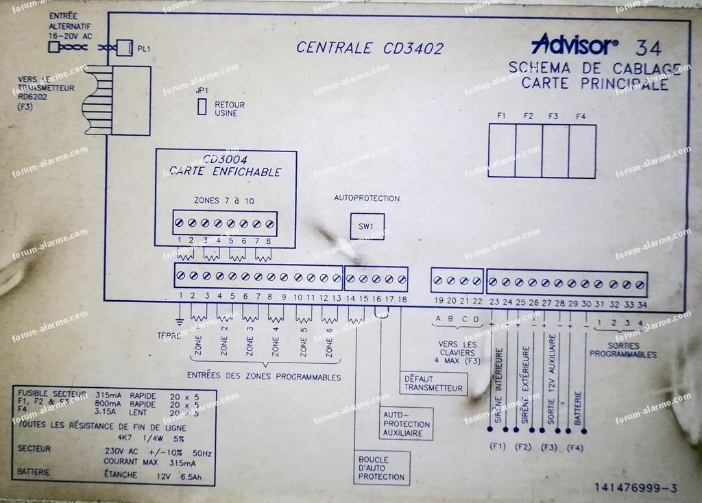 câblage CD 3402