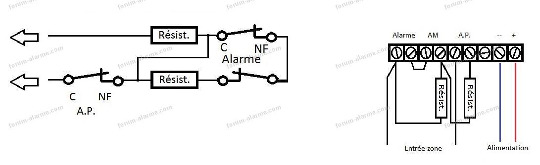 schéma câblage détecteur équilibré