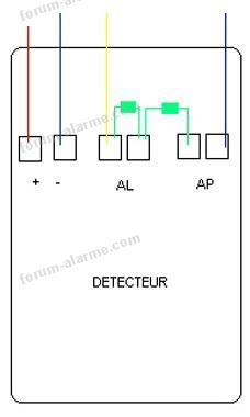 câblage résistances détecteur alarme