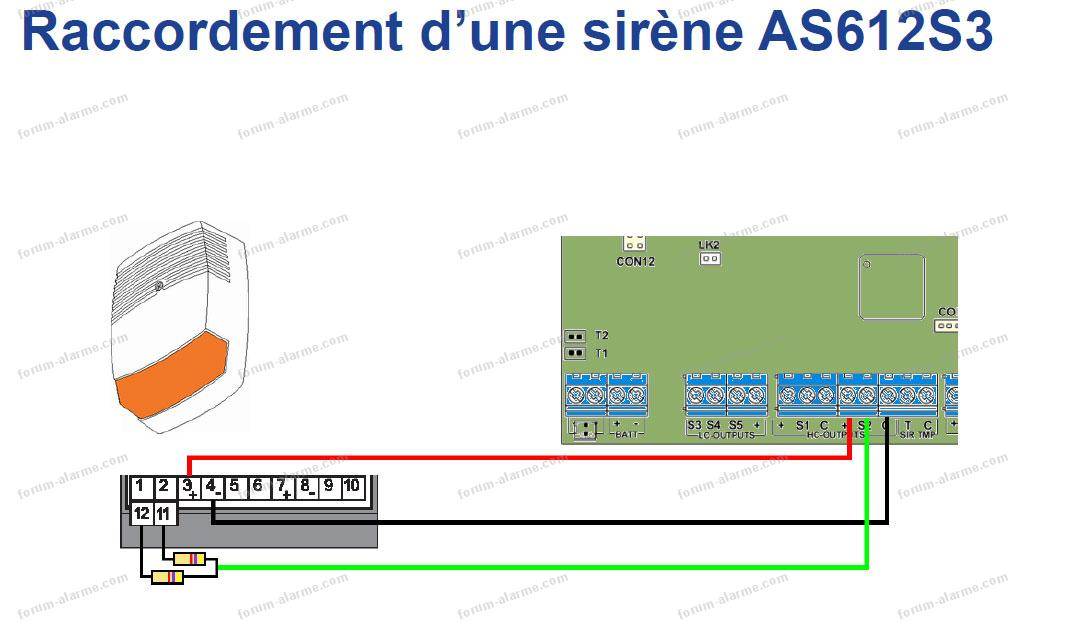 câblage sirène AS612S3