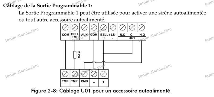 câblage sirènes Lightsys 2