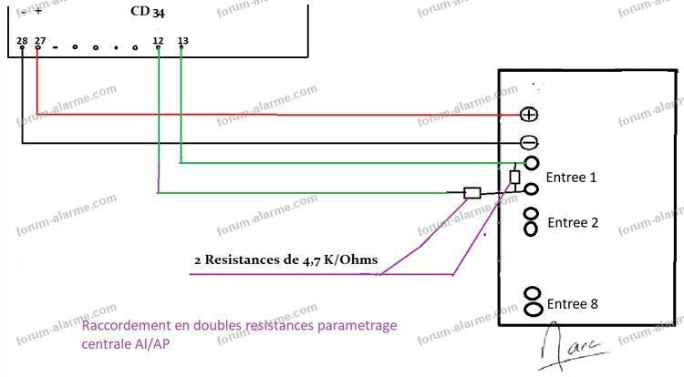 centrale radio contacts cd34 doubles résistances