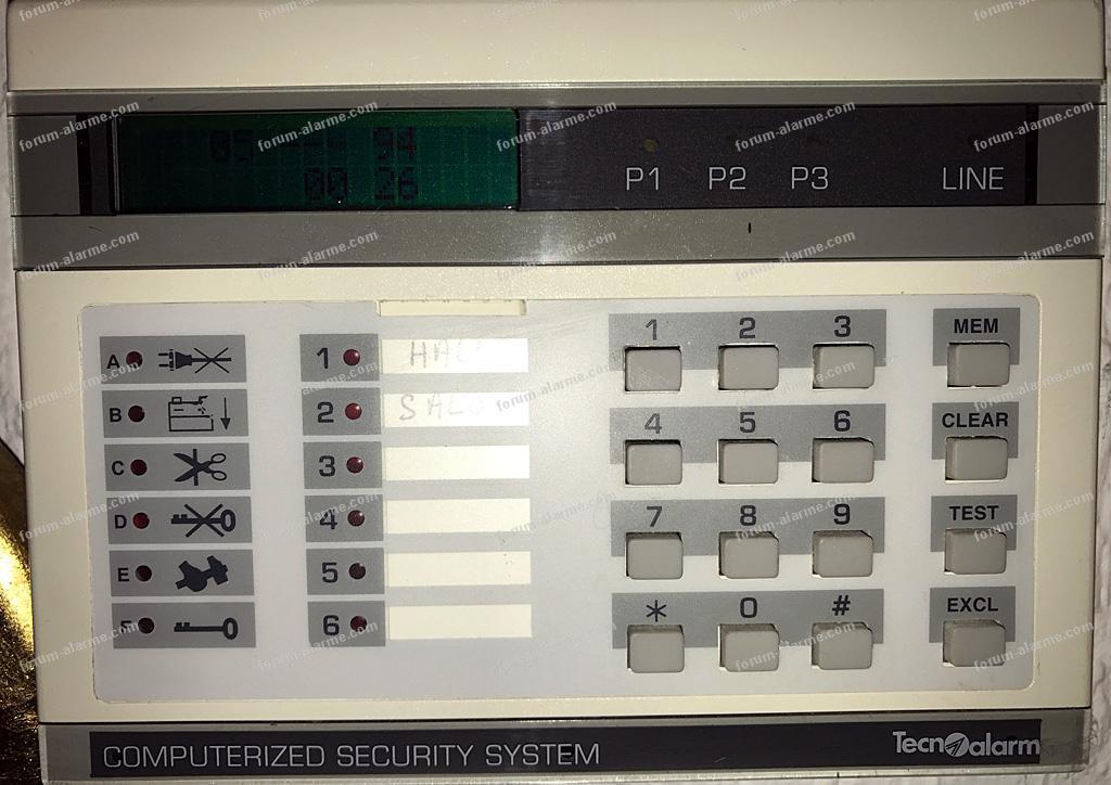identification ancien système d'alarme TecnoAlarm