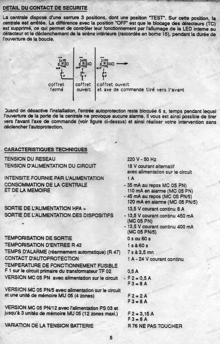 notice centrale elkron mc05pn 05