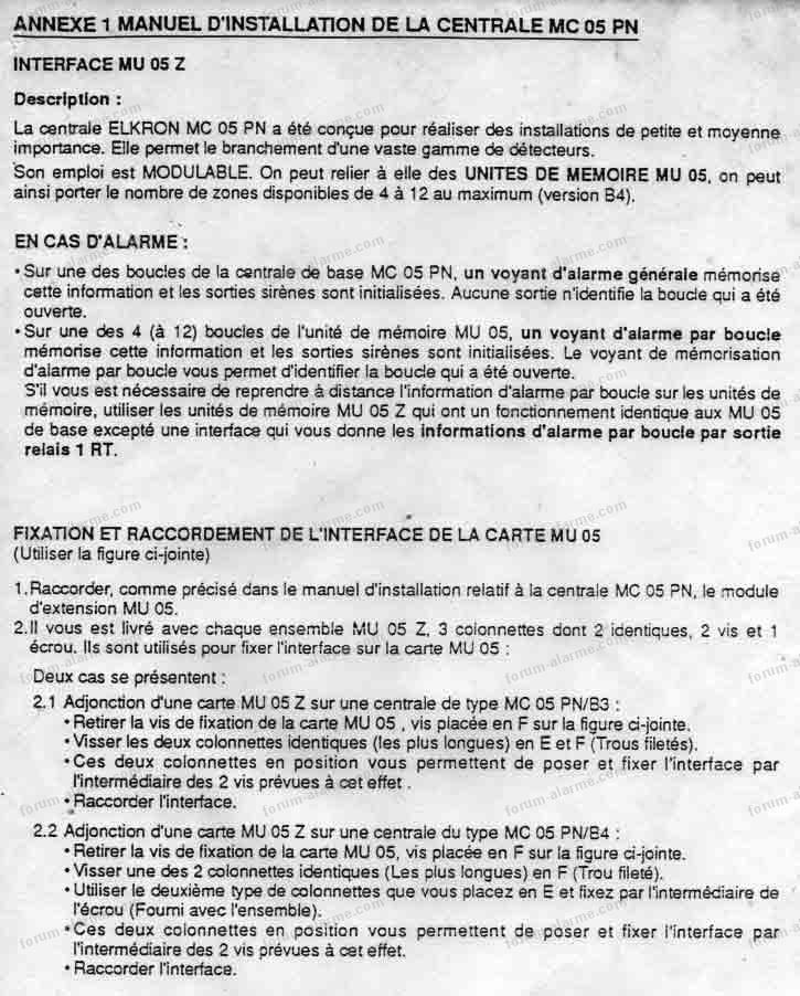 notice centrale elkron mc05pn 07