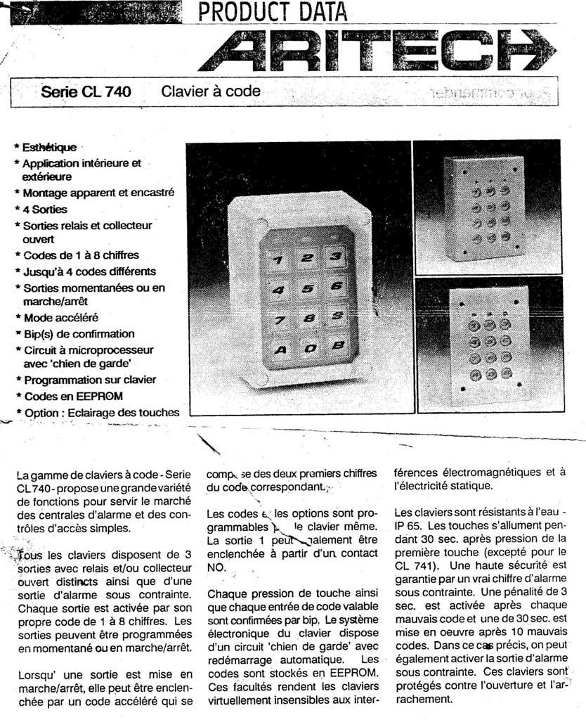 notice clavier serie cl 740 aritech