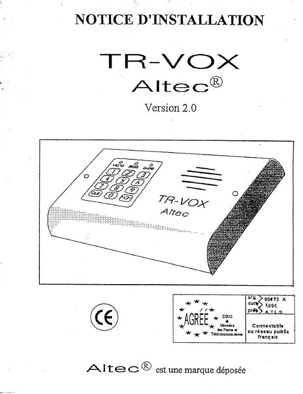 notice transmetteur TRvox 1