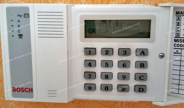 panne centrale d'alarme Bosch UC8T2