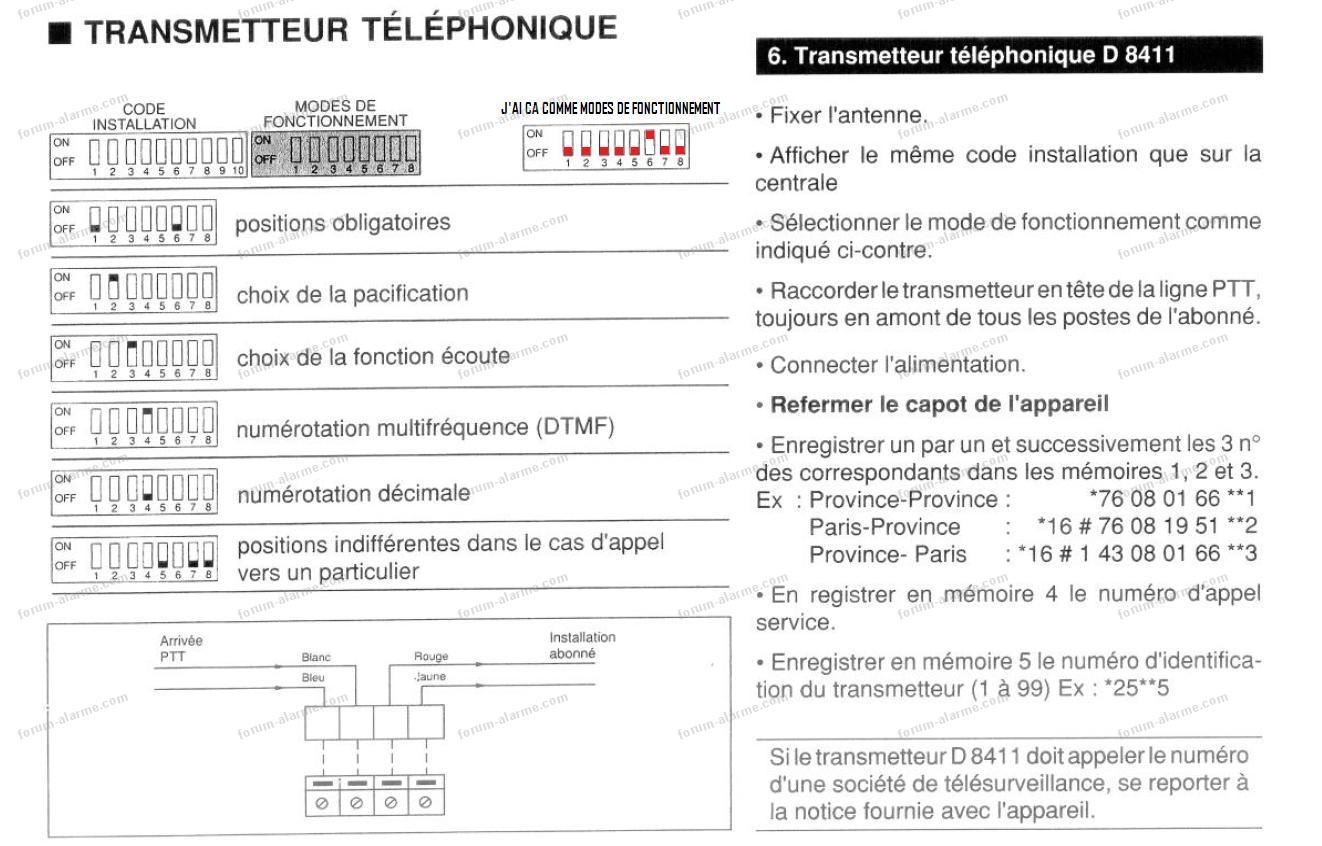 problème transmetteur tel d8411