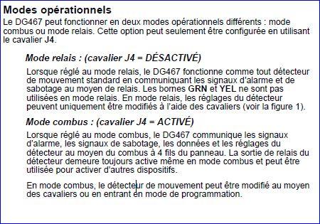 Raccordement détecteur DG467