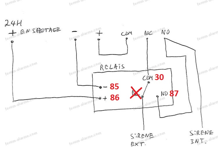raccordement relais alarme elkron mp03