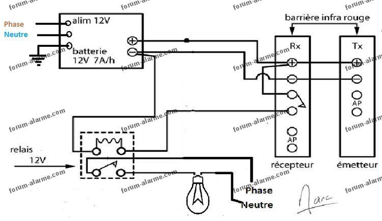 schéma barriere infrarouge commande éclairage