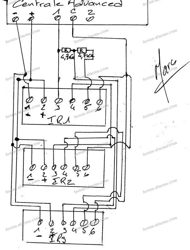 schema branchement detecteur de tecteur infrarouge