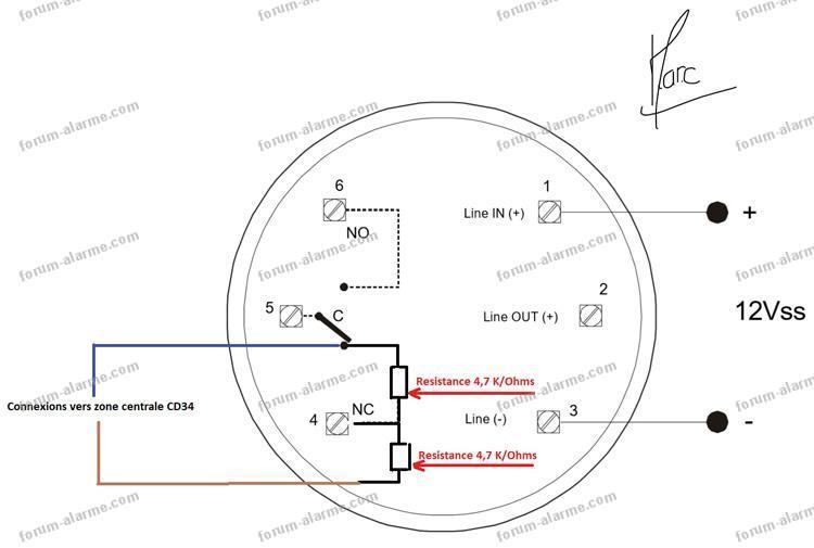 schéma branchement détecteur de fumée dp721rt