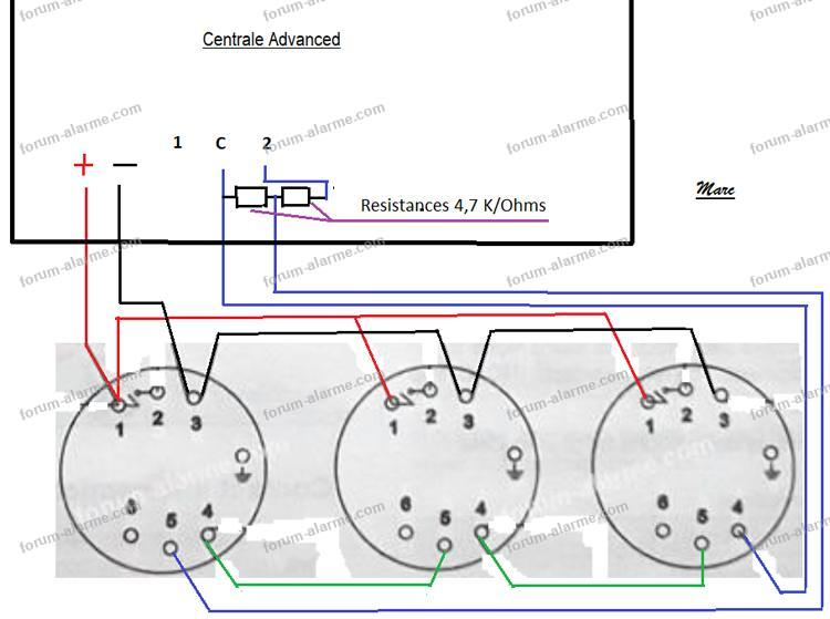 schema branchement detecteur volumetrique
