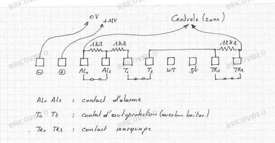 schéma câblage détecteur double tech avec anti-masque