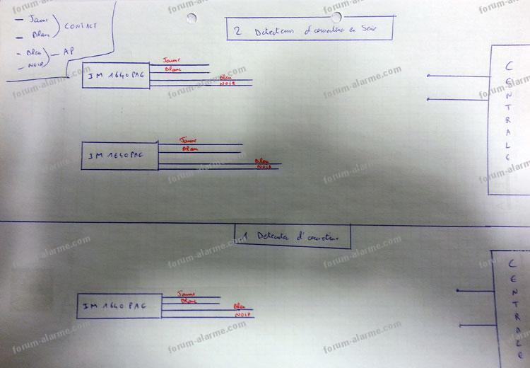 schéma câblage détecteur d'ouverture