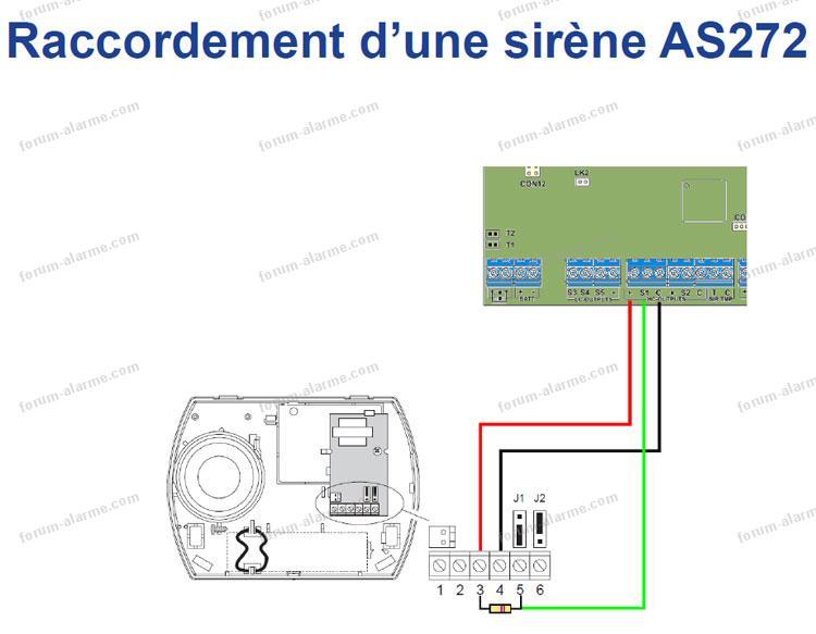 schéma câblage sirène AS272
