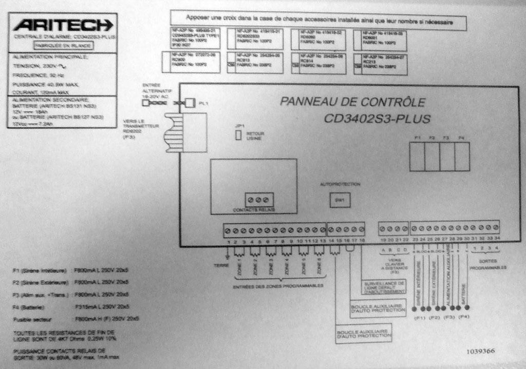 schema carte centrale aritech 02