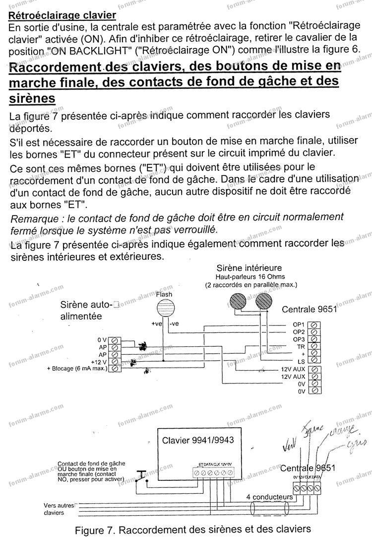schéma raccordement alarme Cooper 9651
