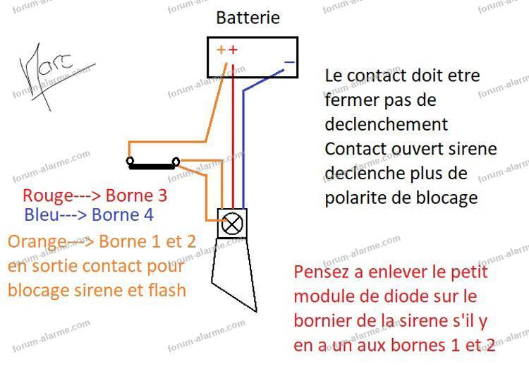 schéma blocage sirène par contact